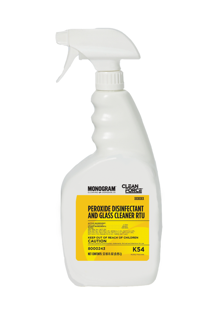 Monogram Clean Force Peroxide Disinfectant and Glass Cleaner RTU
